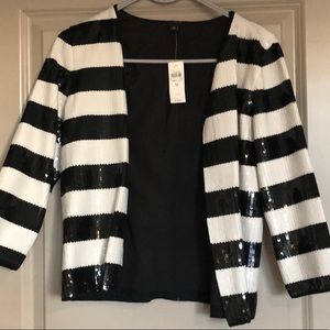 Ann Taylor Black and White Sequin Jacket